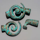 Green patina spiral clasp for 3 to 4mm leather or cord, 31 x 19 x 13mm