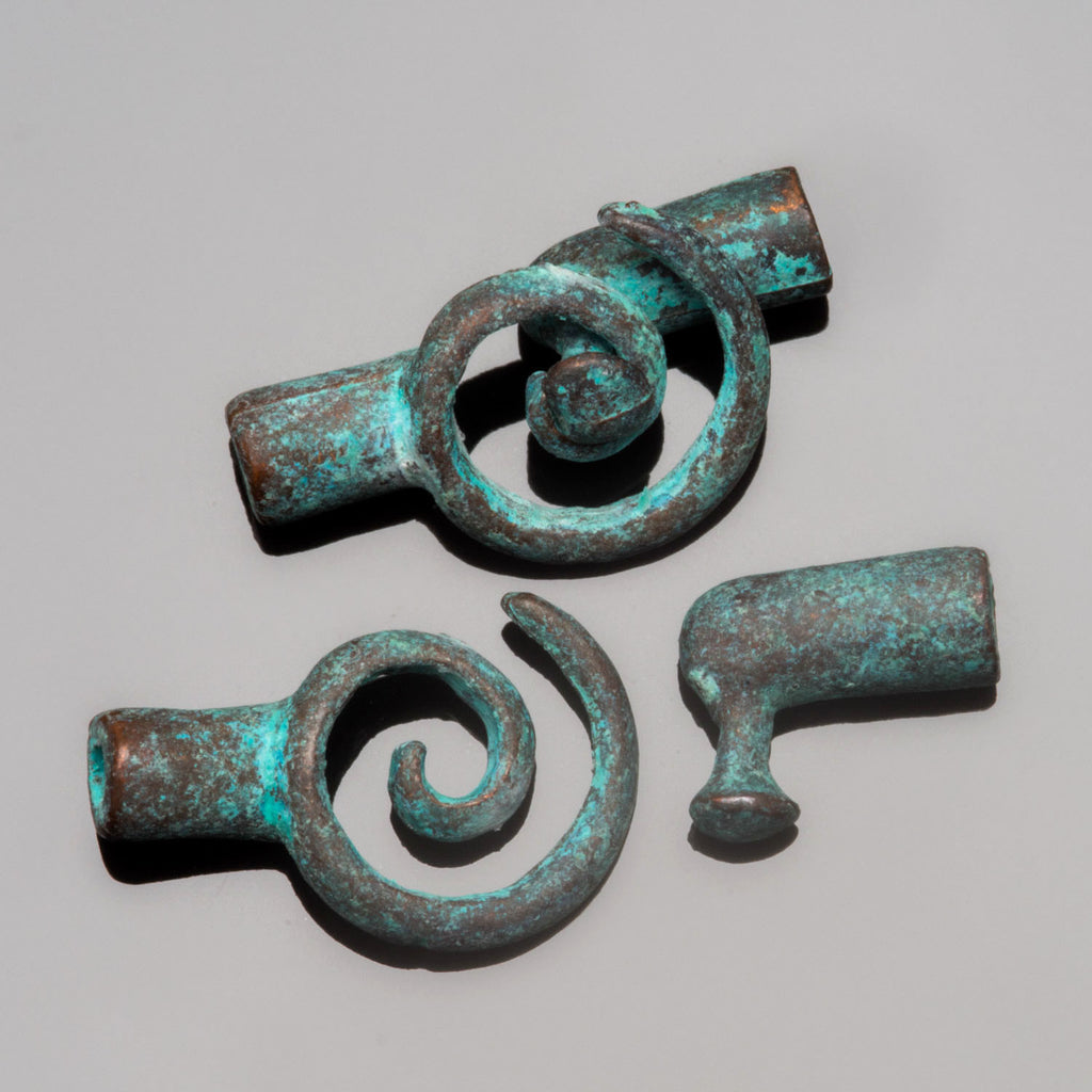 Green patina spiral clasp for 2mm leather or cord, 20 x 11mm