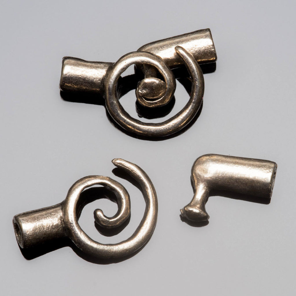 Choose Quantity, Antique Silver Spiral Clasps, 20 x 11mm, For 2mm Cord