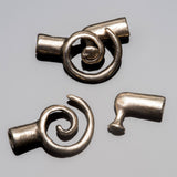 Antique silver spiral clasp for 2mm leather or cord, 20 x 11mm