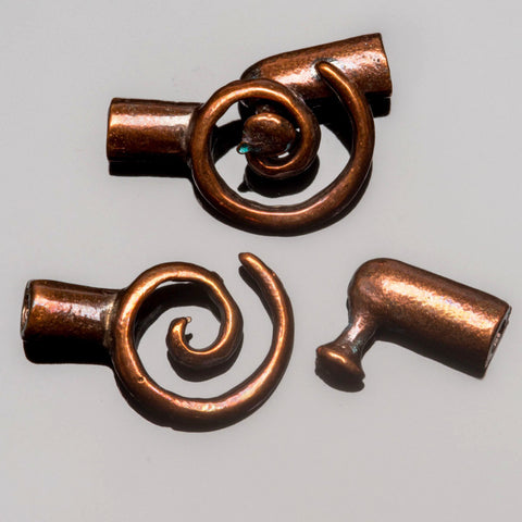 Bronze spiral clasp for 2mm leather or cord, 20 x 11mm