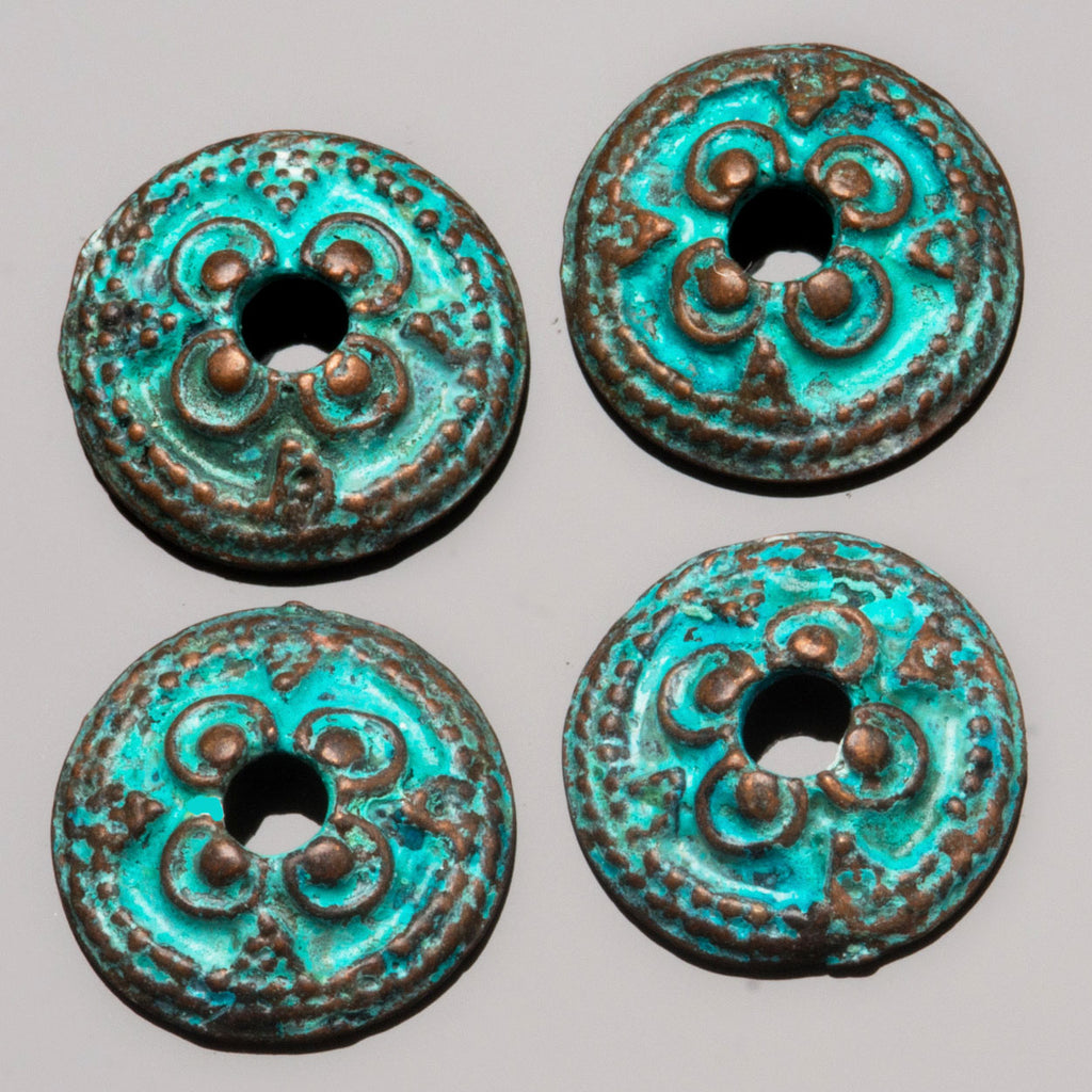 2 Cast ornate bead end caps, green patina, 14 x 4.5mm, Hole 2.75mm