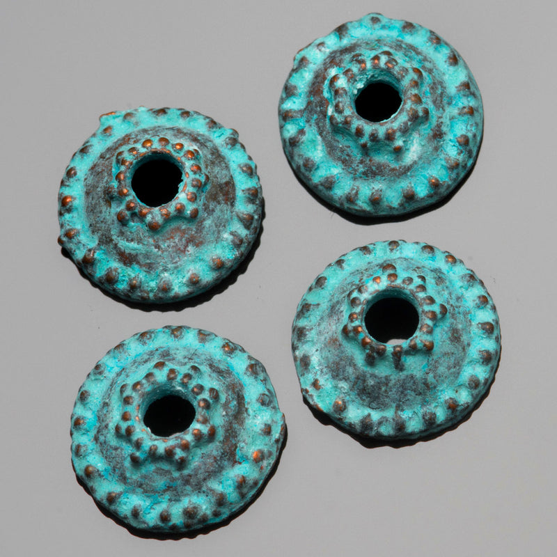 2 Cast granular bead end caps, green patina, 12 x 5mm, Hole 2.75mm