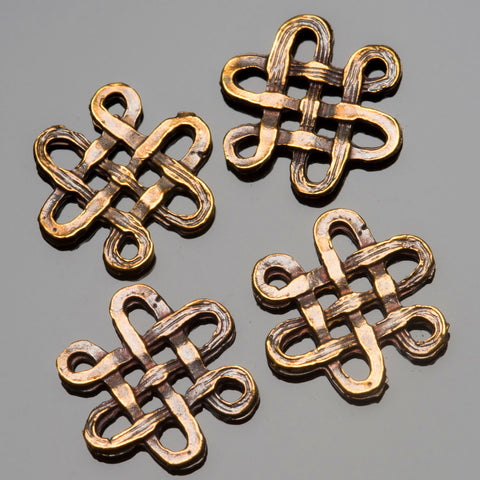 4 Cast antique brass endless knot connector charms, 16 x 15mm