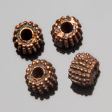 6 Cast metal antique copper large hole Bali style beads, 8 x 5 mm, Hole 2.5mm
