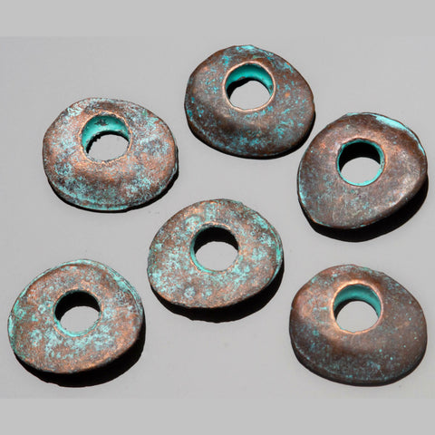 10 Cast metal green patina large hole cornflake beads, 12 x 10mm, Hole 3mm