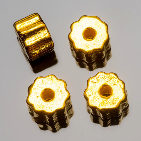 CLEARANCE 4 Cast metal bright gold large hole fluted beads, 8 x 6 mm, Hole 2mm