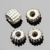 6 Cast metal bright silver large hole Bali style beads, 8 x 5 mm, Hole 2.5mm