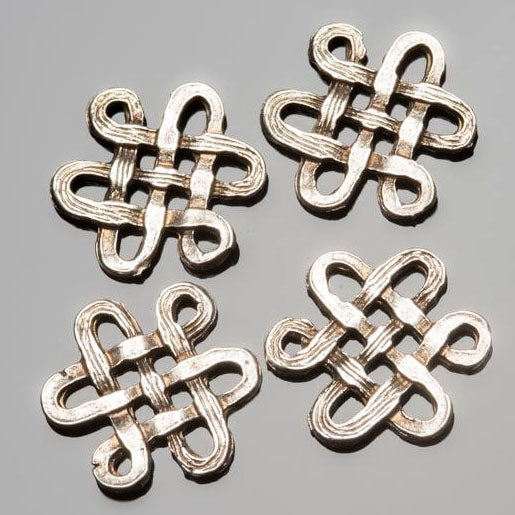 4 Cast antique silver endless knot connector charms, 16 x 15mm, Holes 2mm