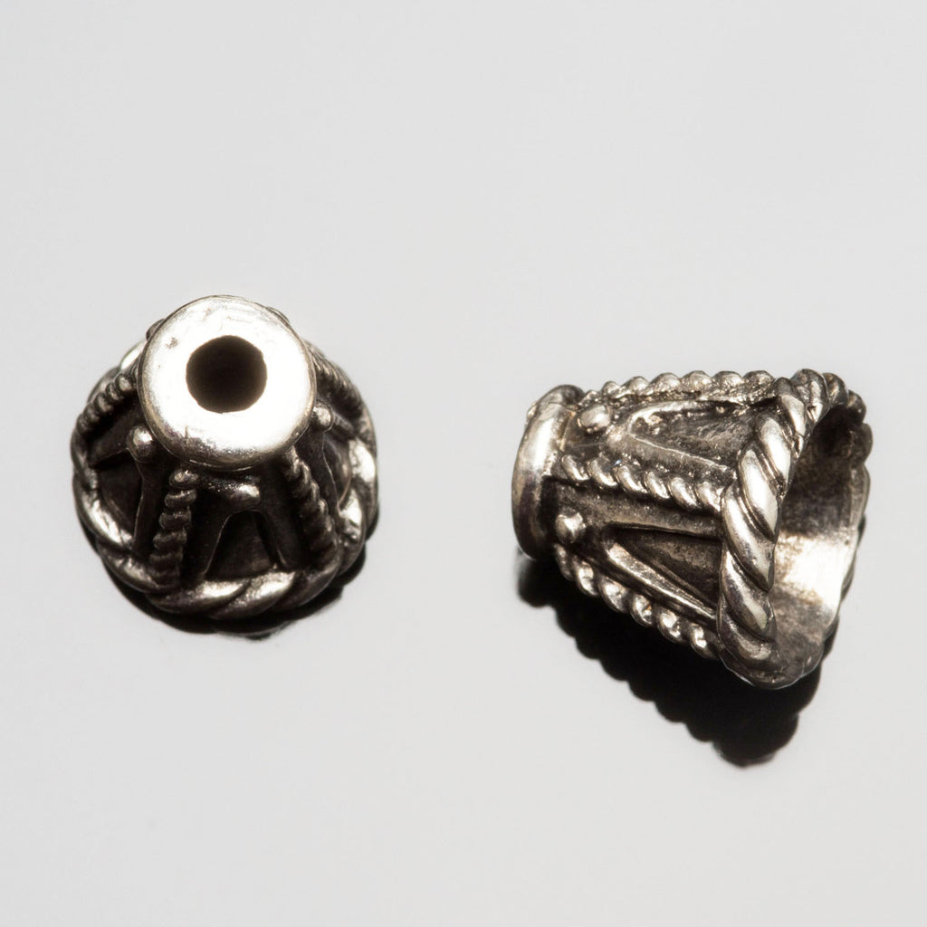2 Cast rope design cones end cap pair, antique silver, 11 x 13mm, Hole 3mm