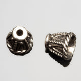 2 Cast rope design cones end cap pair, antique silver, 11 x 13mm