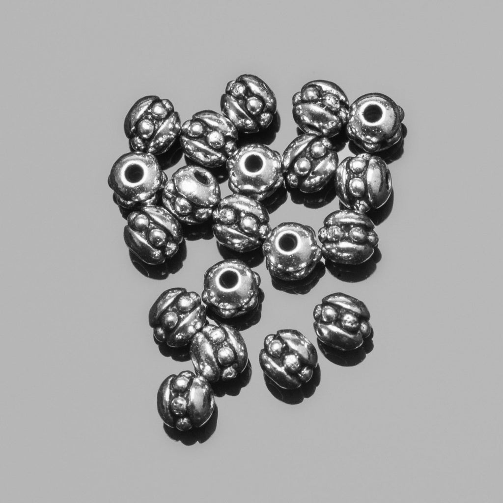 20 Tierracast Brittania Pewter 8/0 (3mm) Cast seed beads, Antique silver