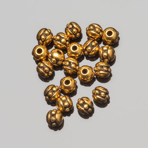 20 Tierracast Brittania Pewter 8/0 (3mm) Cast seed beads, Antique gold