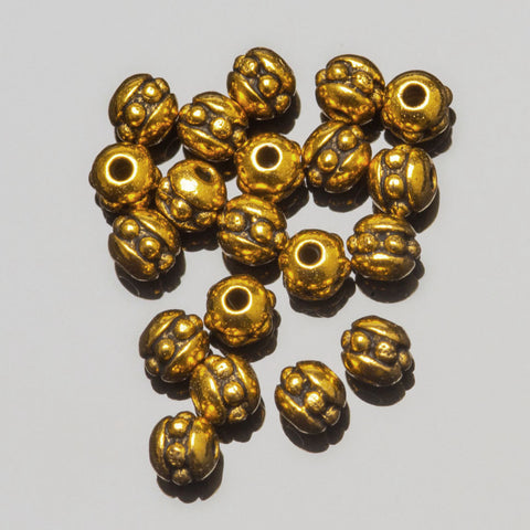 30 Tierracast Brittania pewter 8/0 (3mm) Cast seed beads, Antique gold