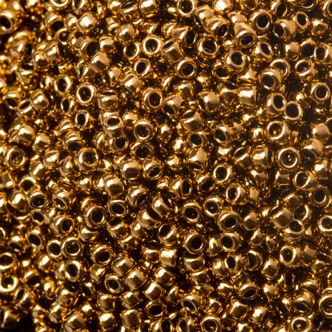 CLEARANCE 15/0 Miyuki Round Metallic Light Bronze #457-L, 8 gram bag, 19 beads per inch