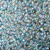 15/0 Toho Round Transparent Rainbow Black Diamond #176, 8 gram tube, 19 beads per inch