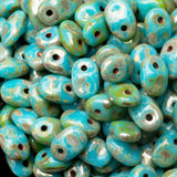 8 Grams turquoise Picasso Matubo SuperUno Czech seed beads, 5 x 2.5mm