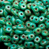 8 Grams Jade dark travertine Matubo SuperDuo Czech seed beads, 5 x 2.5mm