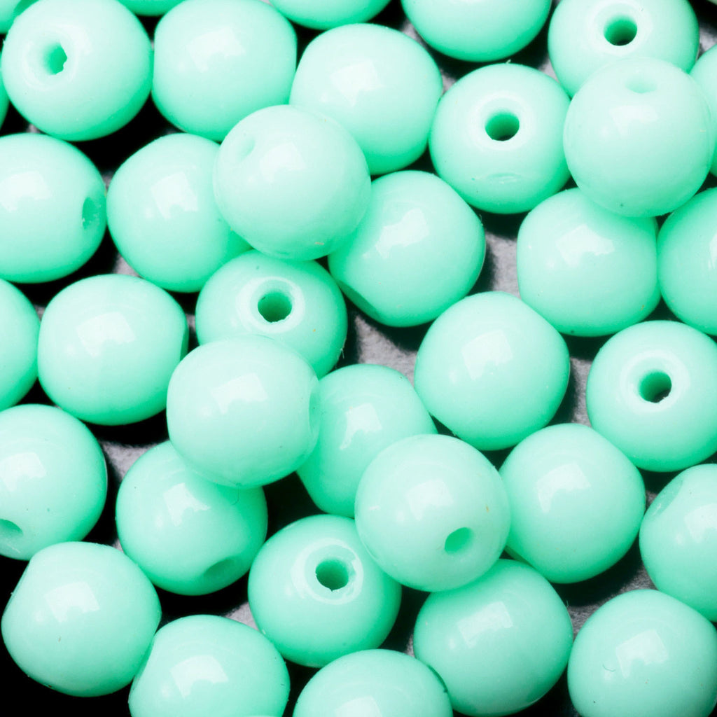 50 Bright mint green Czech glass round beads, 4mm