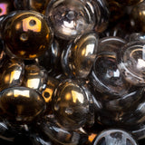 25 Smoke bronze and plum Czech glass 2-Hole Piggy beads, 4 x 8mm