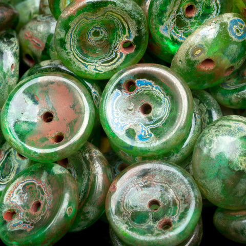 25 Transparent green and Picasso Czech glass 2-Hole Piggy beads, 4 x 8mm