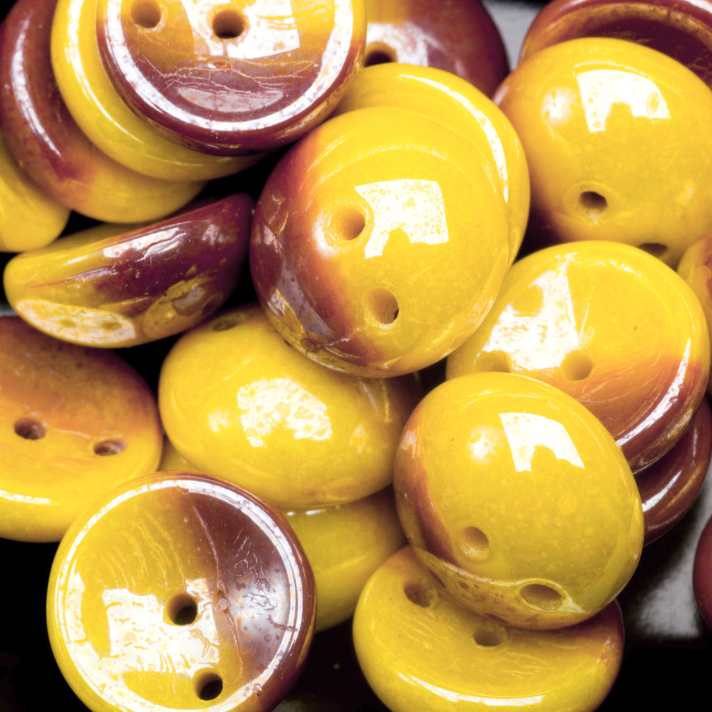 30 Sunny Yellow and Plum luster Czech glass 2-Hole Piggy beads, 4 x 8mm