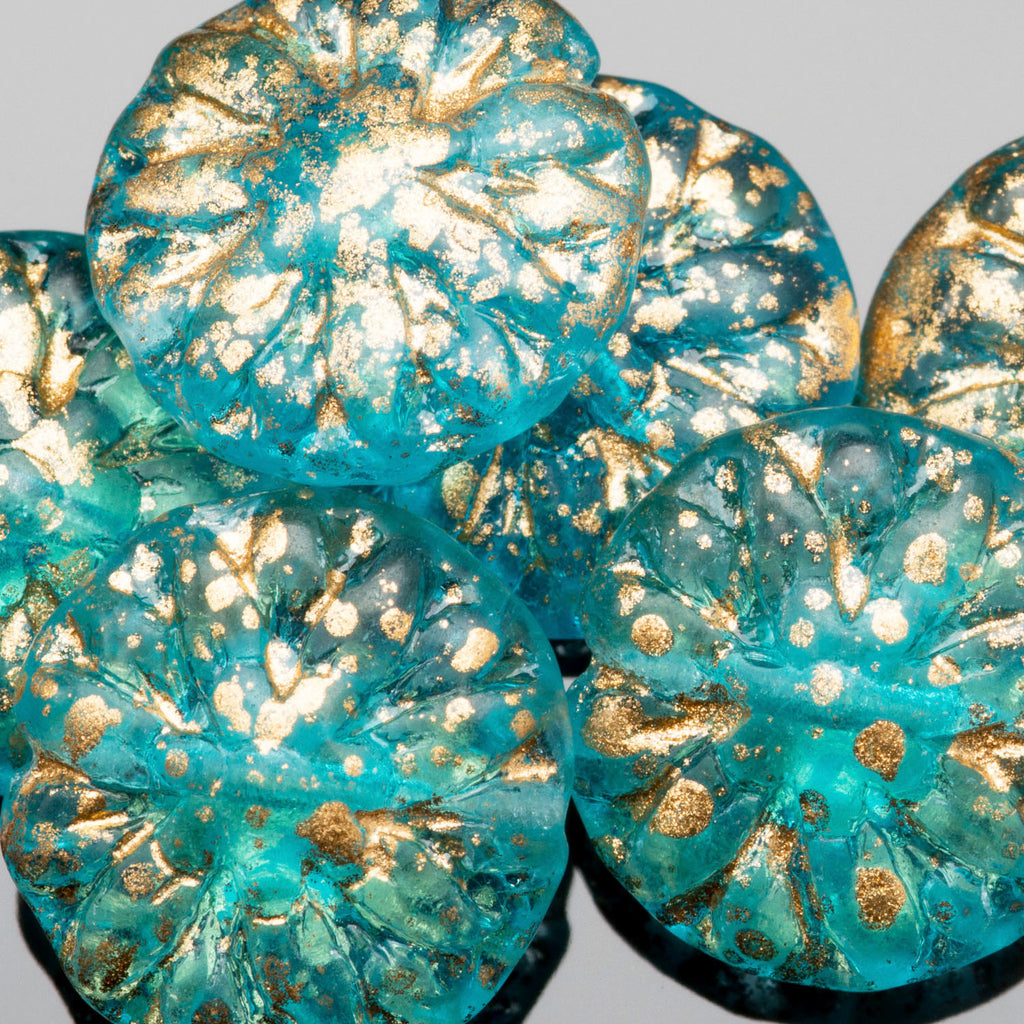 2 Aqua and gold Dahlia Czech glass beads, 14 x 3mm