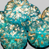 6 Aqua and gold Dahlia Czech glass beads, 14 x 3mm
