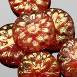 Pink red with golden luster Dahlia Czech glass beads, 14 x 3mm