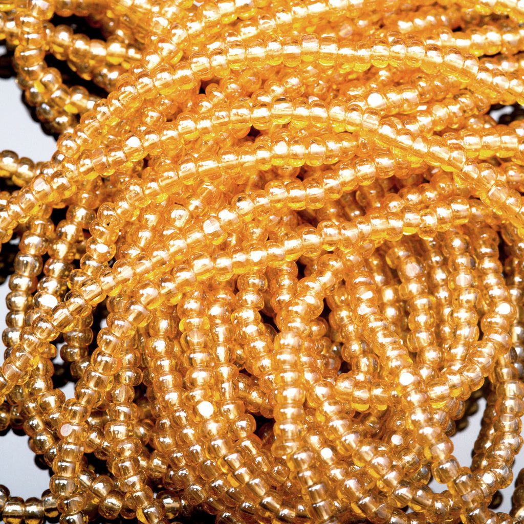 LOOSE 57 Inches 8/0 Preciosa Yellow Citrine One Cuts Charlottes, 2.9mm, 825 beads