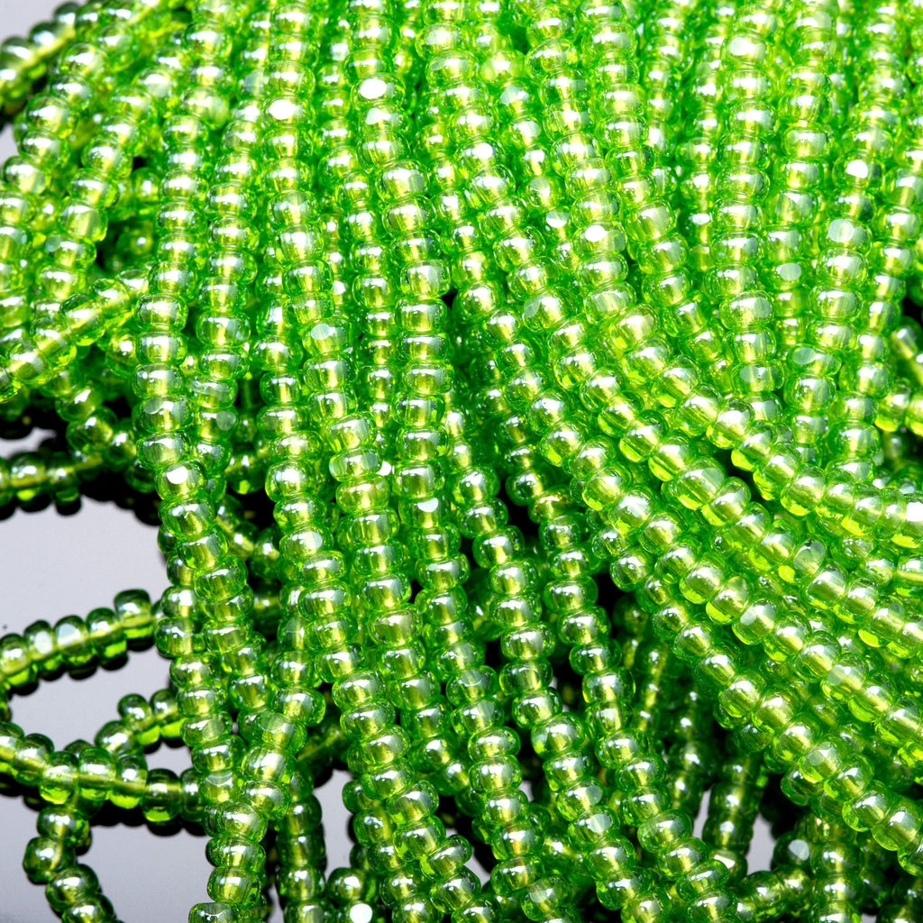 "(3) 19"" Strands 8/0 Preciosa Transparent Peridot One Cuts Charlottes, 2.9mm, 825 beads"