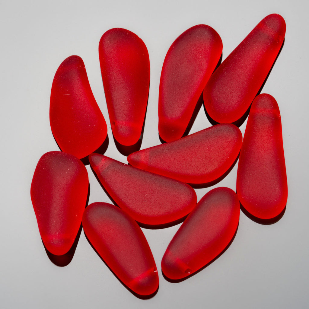5 Faux sea glass teardrop nuggets, mix of shapes, 16 to 24mm long, cherry red