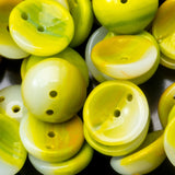 30 Green and mustard yellow Czech glass 2-Hole Piggy beads, 4 x 8mm