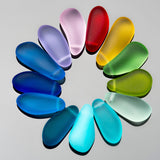5 Faux sea glass teardrop nuggets, mix of shapes, 16 to 24mm long, Teal