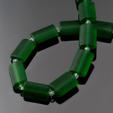 12 Sea glass Shamrock green rectangle pillow beads, 14 x 10mm
