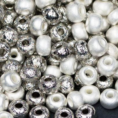 5 Grams 6/0 Loose Brushed Fine Silver and Bright Nickel Czech Seed Beads