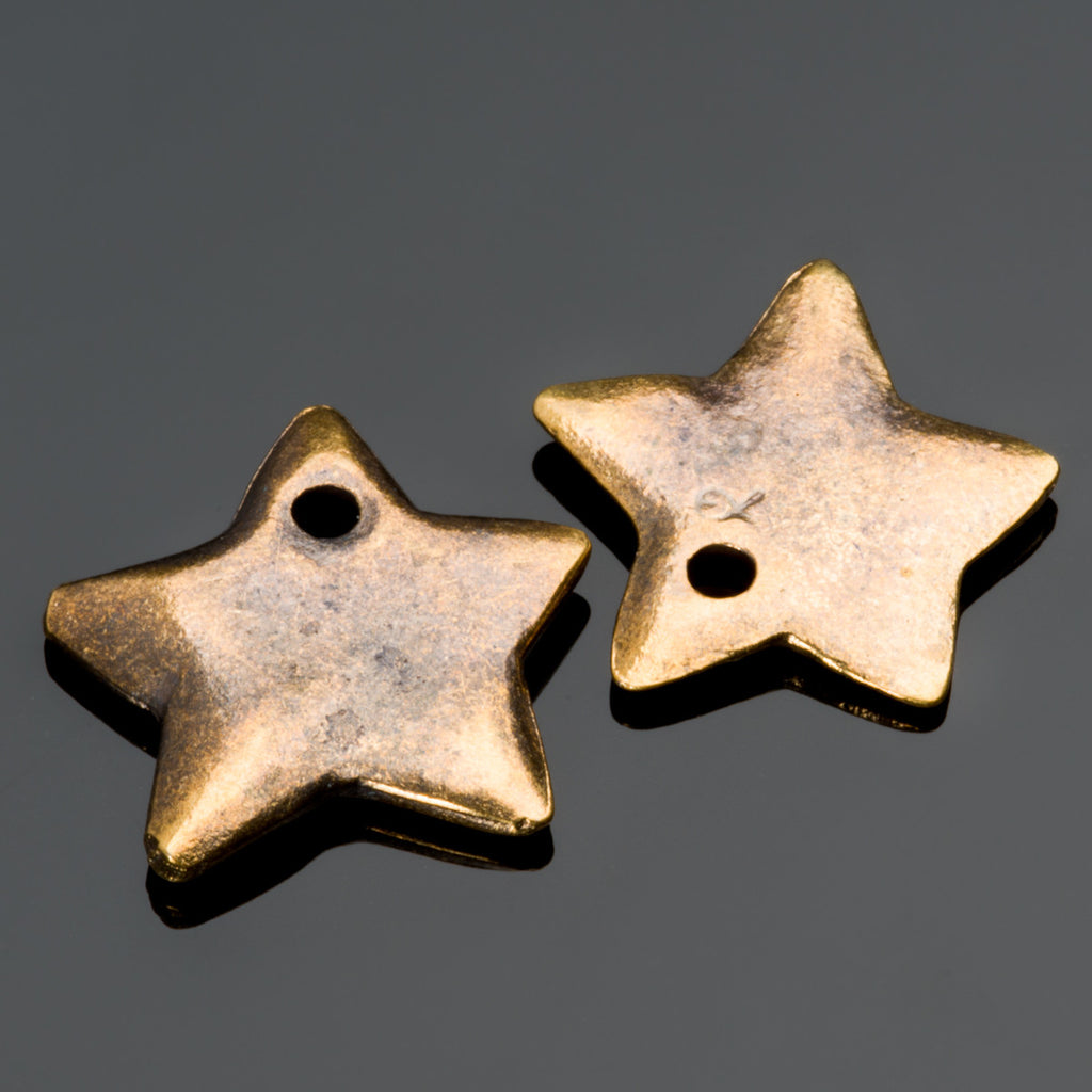 2 or 5 Cast Mykonos Antique Brass Star Charms, 15mm, Hole 2mm