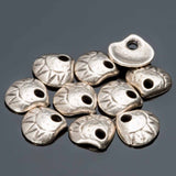 10 Small clam shell charm dangles,10mm, Antique Silver