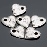 6 Antique silver small cast heart charms, 10mm