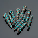 10 Green patina finish spike twist shell charms, 18mm
