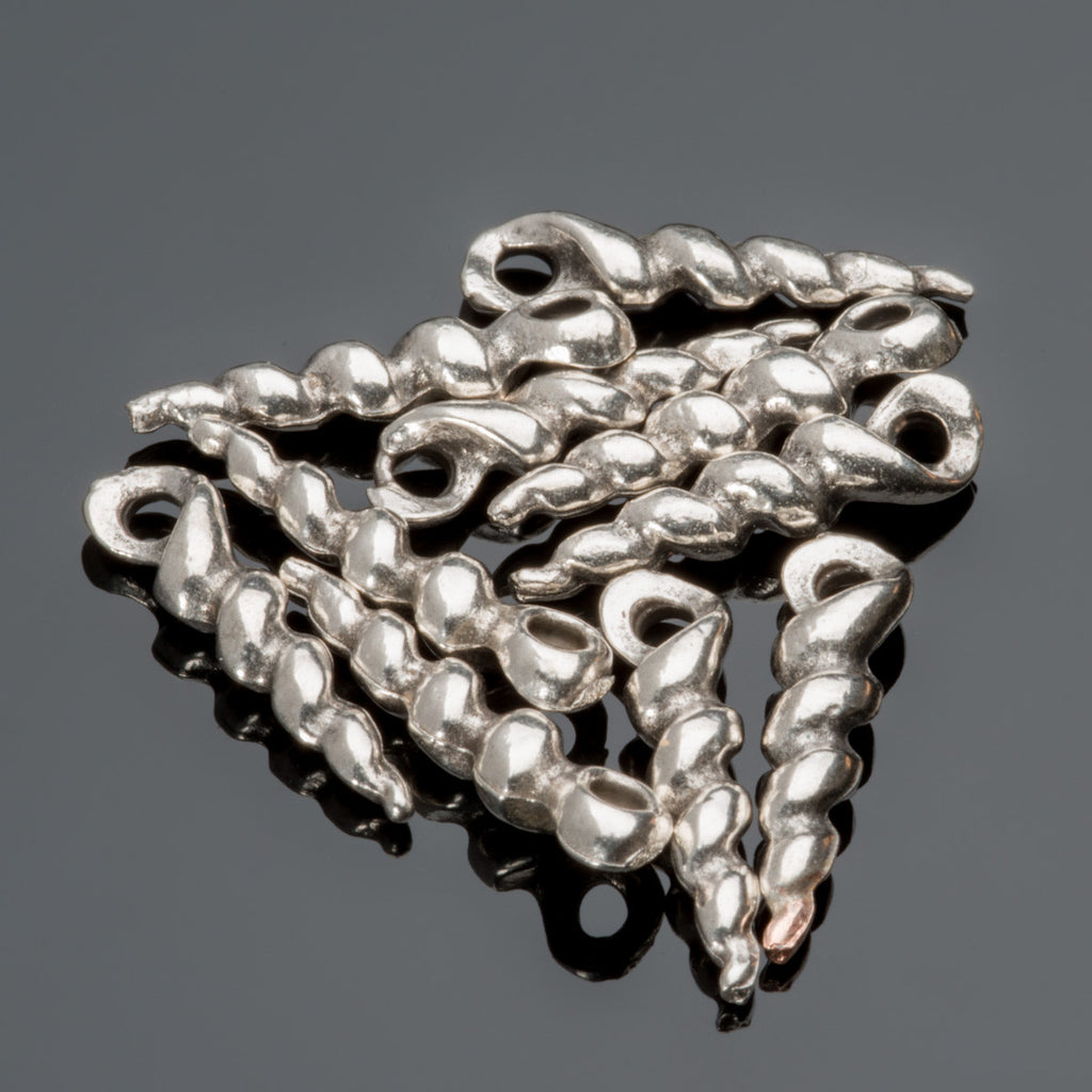 5 or 10 Pewter finish spike twist shell charms, 18mm