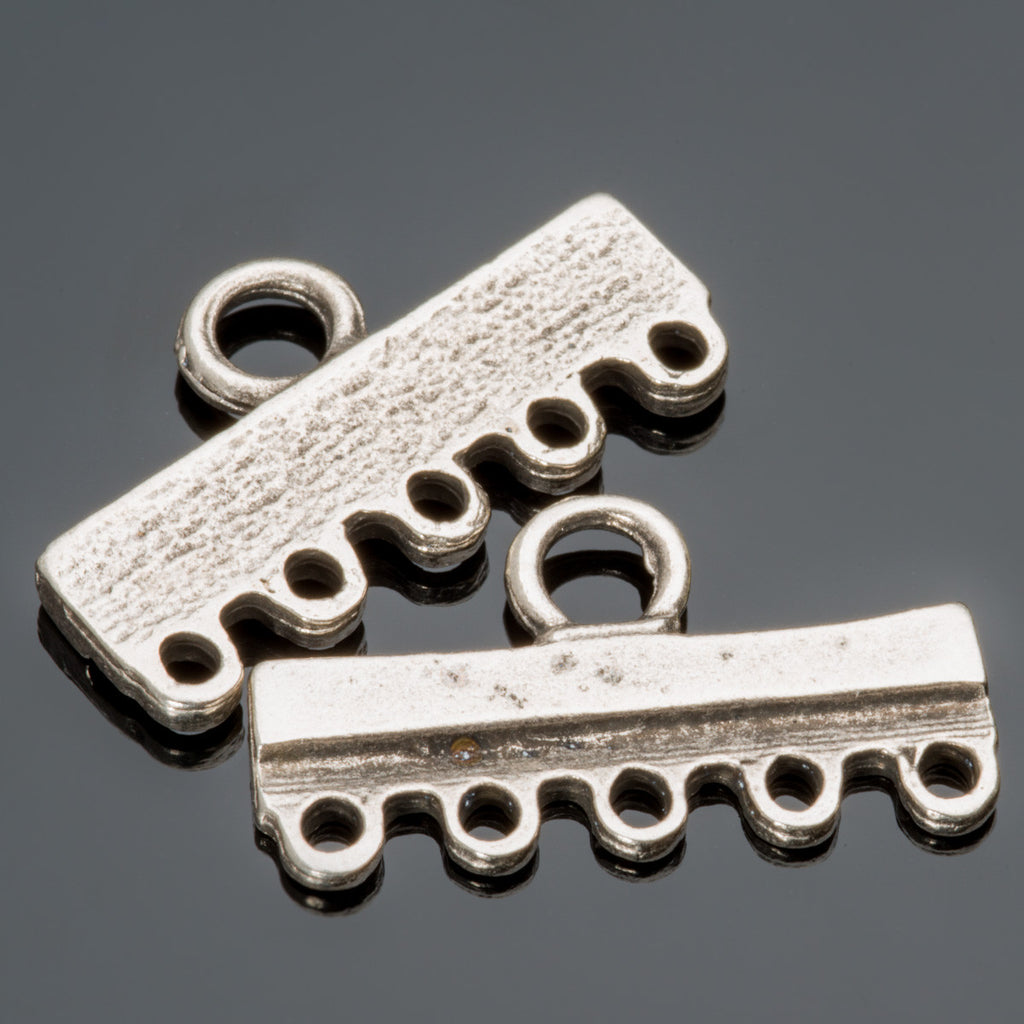 2 Cast antique silver 5 strand connectors , 25 x 14mm, Hole 4mm