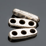 3 Antique silver 3 hole spacer bar connectors, 17 x 6mm