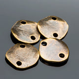 4 Antique brass casting 2 hole cornflake links, 15mm, 2mm holes