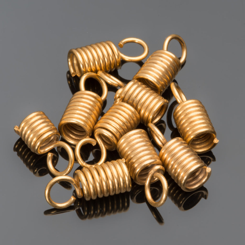 10 Gold spring end cord connectors, 11.5 x 4.5mm, Opening 3.5mm