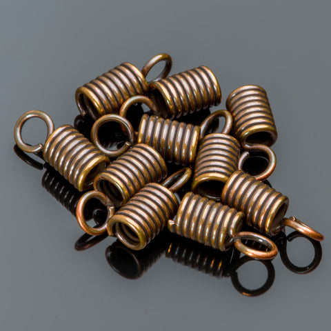 10 Large bronze spring end cord connectors, 19 x 5.5mm, Opening 5.5mm