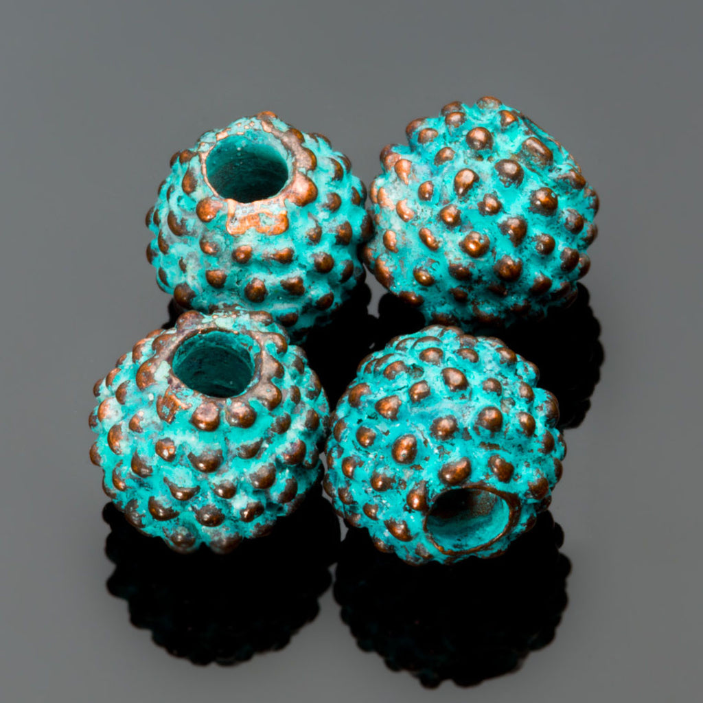 4 Small cast bumpy Bali style round beads, green patina finish, 8mm, Hole 2mm