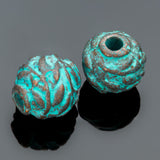 2 Medium cast olive leaf ball round beads, green patina, 12mm