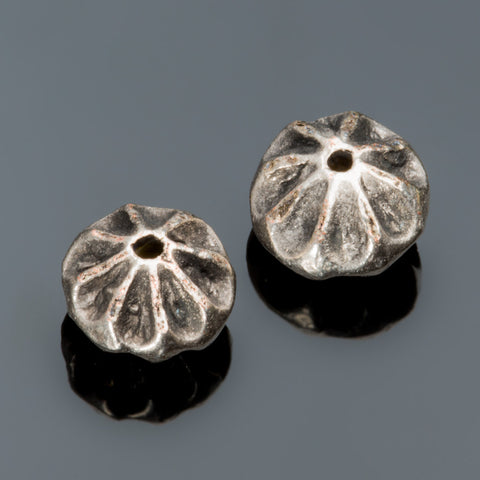2 Cast fluted flower metal beads, pewter, 11 x 7mm