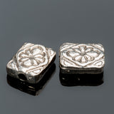 2 Cast metal flat rectangular flower beads, 11 x 10mm, pewter